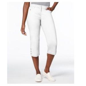 Karen Scott Button-Cuff Capri Cropped Pants Black